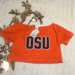 VS Pink OSU Orange Crop Raw Neckline T-shirt Sz M